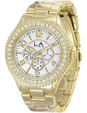 LA Time Damen-Armbanduhr Analog Quarz Edelstahl beschichtet LA010L