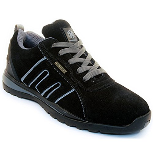 BARGAINS-GALORE Mens Suede Safety Trainers Shoes Boots Work Steel Toe Cap Hiker Ankle Womens Black Grey