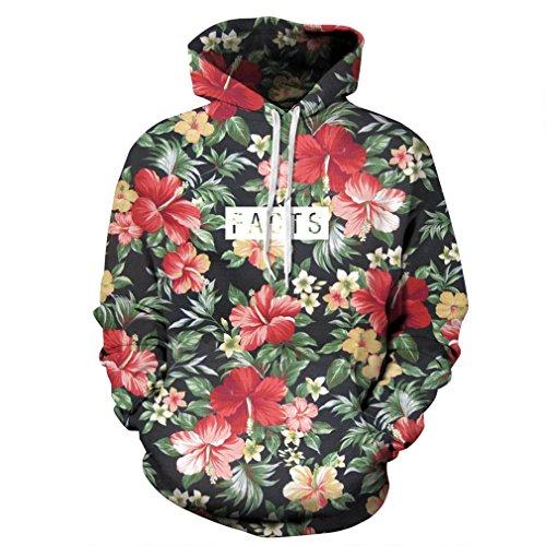 Ohne Kapuze Sweatshirt Jordan (Caladele Männer Frauen Hoodies gedruckten roten Blüten, grüne Blätter 3D mit Kapuze Sweatshirts Hoody Trainingsanzug S)