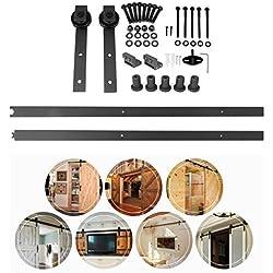Homgrace 2M/6.6F Kit de Rail pour Porte Coulissante Portes Intérieures Grange Armoire Hardware (style 2)