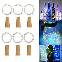 AlleTechPlus 6 Pack 20-LEDs Spark Wine Bottle Light, Cork Shape Battery Copper Wire String Lights for Bottle DIY, Christmas, Wedding and Party Décor - Multicolour