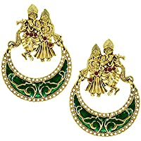 Zaveri Pearls Lord Radha-Krishna Temple Earring For Women - ZPFK5448