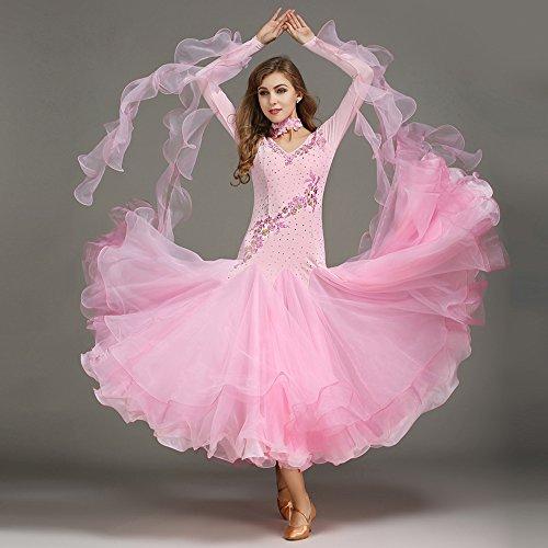 ZTXY Moderne Dame Große Pendel Handgestickten Tango Und Walzer Tanz Kleid Tanzwettbewerb Rock Lange Ärmel Strass-Tanz-Kostüm,Pink,XL