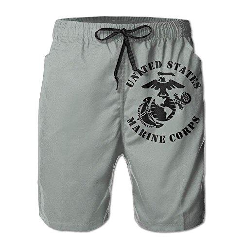 cleaer Eagle Globe Anchor USMC Marine Corps-Mens Funny Quick Dry Beach Shorts Small -