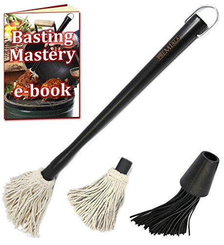 Vielseitig Grillpinsel Mop Set - Barbecue-Pinsel schafft mühelos feuchtes, saftiges Grillfleisch! Maximale Vielseitigkeit - austauschbare Pinselaufsätze aus Baumwolle und Silikon! (Basting Mop)
