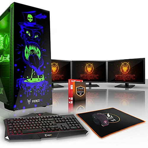 Fierce Gobbler RGB Gaming PC Bundeln - Schnell 3.5GHz Quad-Core Intel Core i5 7400, 1TB Festplatte, 16GB 2400MHz, NVIDIA GeForce RTX 2070 8GB, Tastatur (VK/QWERTY), Maus, 3X 21.5-Zoll-Monitore 836937
