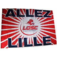 Drapeau officiel LOSC - Lille Olympique Métropole - Football Club Ligue 1 Supporter Dogues - Logo Maillot - Taille 100 X 150 cm