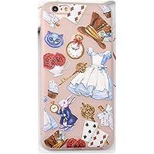 Phone Kandy® Alice in Wonderland Cheshire Cat White Rabbit transparente claro de TPU Funda de silicona ultra fina y protector de la pantalla - Pemium (iPhone 6 PLUS, Tipo #1)