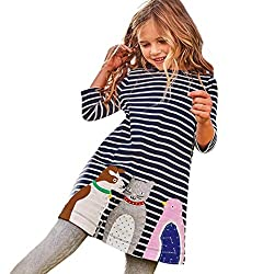 Webla Toddler Baby Girl Kids Autumn Animals Cat Dog Penguin Pattern Striped Daily Dress For 1-6 Years Old