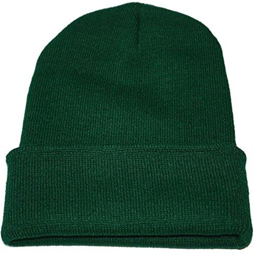 Belsen Herren Winter Hip-Hop Fluoreszenz Barette Warm halten Strick mütze Skull Cap (Dunkelgrün)