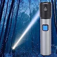 Gransun Impermeable USB portátil Recargable Ajustable Linterna LED para Acampar al Aire Libre Pesca