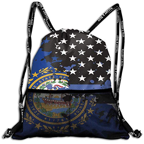 Jxrodekz New Hampshire Thin Blue Line Flag USA Bulk Drawstring Backpack Cinch Bag Sport Gym Sack for Traveling and Storage (Hampshire Halloween New)