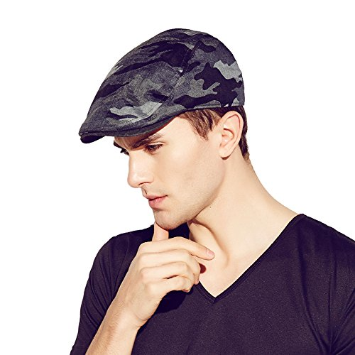 Kenmont été hommes homme gavroche chauffeur de taxi bouchon de lierre camouflage pic visière chapeau (bleu foncé)
