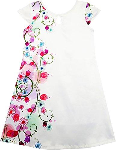 Mädchen Kleid Weiß Fleck Blume Drucken Kappe Ärmel Strand Gr.158 (Weihnachten Boutique Kleid)