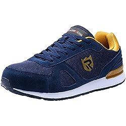 Zapatos de Seguridad para Hombre con Puntera de Acero Zapatillas de Seguridad Trabajo, Calzado de Industrial y Deportiva LM-123k Azul Reflexivo 42 EU
