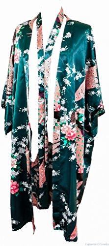 Kimono de CC Collections 16 colores shipping bata de vestir túnica lencería ropa de noche prenda despedida de soltera (verde oscuro / esmeralda)