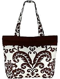 Multipropósito marrón blanco Bolsa de compras - la bolsa de asas de algodón con cierre de cremallera y dos asas