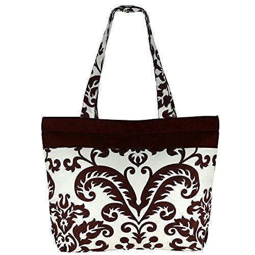 Multiuso marrone bianco Shopping Bag - borsa in stoffa di cotone con chiusura a cerniera e doppi manici