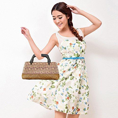 ricamo a mano maglia / tessere borsa di bambù rattan paglia / borse a mano/borse a spalla pattern 2 tipo giallo