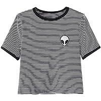 Sannysis Aliens stampa 3d raccolto T-shirt manica corta cime delle donne (nero, L)
