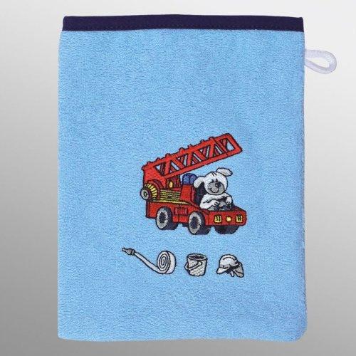 Waschhandschuh/Waschlappen 15x20 cm versch. Designs (Feuerwehr bleu) ()