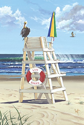 Toland Home Garden Pelikan-Pfosten, 31,8 x 45,7 cm, dekorativer Sommer-/Strand-/Vogelschutz-Ozean-Wellen Surf Station