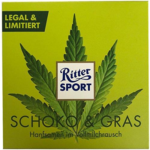 *RITTER SPORT SCHOKO + GRAS – Vollmilch Schokolade mit gerösteten Hanfsamen (100 g) LEGAL + LIMITIERT*