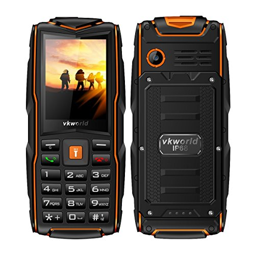 "Mobile phone,2017 New VKworld Stone V3 2.4"" Sim-Free Mobile phone with Big Button,IP68 Waterproof,Shockproof,Dustproof,LED Flashlight and Triple Sim Triple Standly 2G Unlocked Cell phone for the Elderly/Military(2MP Camera,64MB+64MB,FM Radio,Box Speaker,3000mAh battery,Millet Lamp Gift) (Orange)"