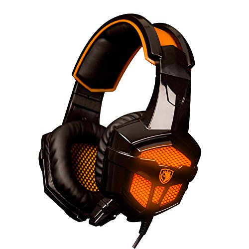 Price comparison product image PC Computer Game, Stereo PC Gaming Headset Headphone Headset, 3.5mm Plug Over Ear Wired Microphone Headset with Noise Cancelling Isolating & Volume Control-Sades SA738 (Orange)
