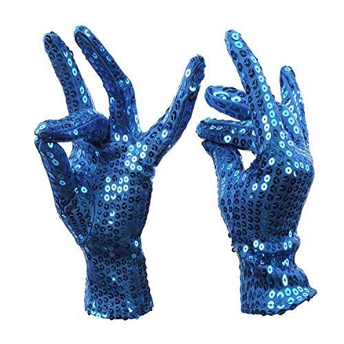Paillettenhandschuhe Nachtclub Sänger Tanzperformance Glänzende Pailletten Kurze Handschuhe Arbeitshandschuhe (Color : Blue) ()