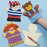 Baker Ross Marionetas de mano de tela que los niños pueden pintar y decorar para teatros de marionetas (pack de 6).