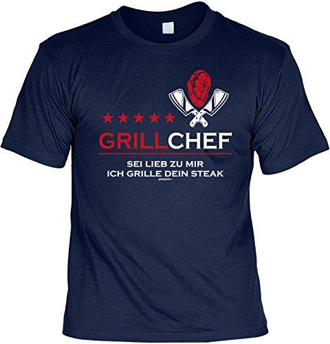 Grill/Spaß-Shirt/Fun-Shirt/Rubrik lustige Sprüche: Grillchef Sei lieb zu mir ich grille dein Steak Navyblau