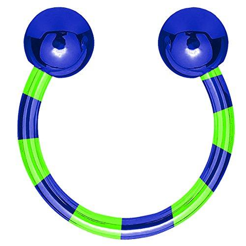 Piersando Hufeisen Piercing Ring Edelstahl Universal Horseshoe Zweifarbig gestreift mit Schraub Kugel für Septum Tragus Helix Nase Lippe Ohr Intim Nippel Silber Blau Grün