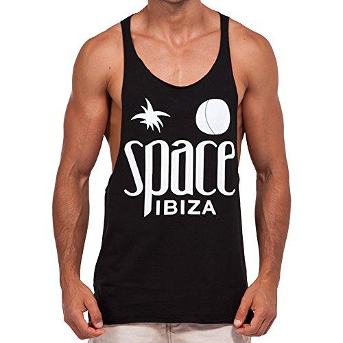 Space Ibiza: Nativo Camiseta sin Mangas con Espalda Nadador - Negro, L - Large