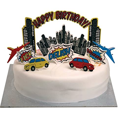 Ginger Ray primeros de la torta de cumpleaños - Vela Alternativa - Pop Art Party Superhero