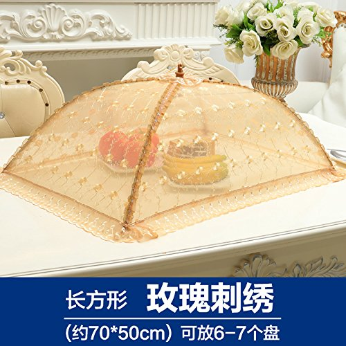 BBDQX Folding dish cover, table cover, dish cover, food cover, vegetable bowl cover, anti flies lace round large square,Rectangular Rose Embroidery -