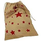 Jute-Sack XXL Geschenke-Sack Nikolaus-Sack Weihnachts-Sack Beutel Tasche Tüte Jute rote Sterne ca. 50cm x 70cm Nikolaussack Geschenkesack Jutesack