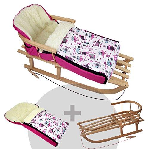 BAMBINIWELT Kombi-Angebot Holz-Schlitten mit Rückenlehne & Zugseil + universaler Winterfußsack (108cm), auch geeignet für Babyschale, Kinderwagen, Buggy, aus Wolle im Eulendesign (Motiv $1)