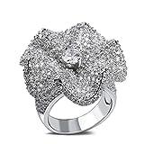 Bishilin Fleur Design Zircon Cubique Inlaid Alliance Fiançailles Engagement Ring Femme Taille 56.5