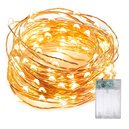 LED luci, 5 m/5 m 50 LED lucciola string luci a batteria Starry Fairy Lights impermeabile luci decorative Twinkle per camera da letto, Natale, party, matrimonio (bianco caldo)