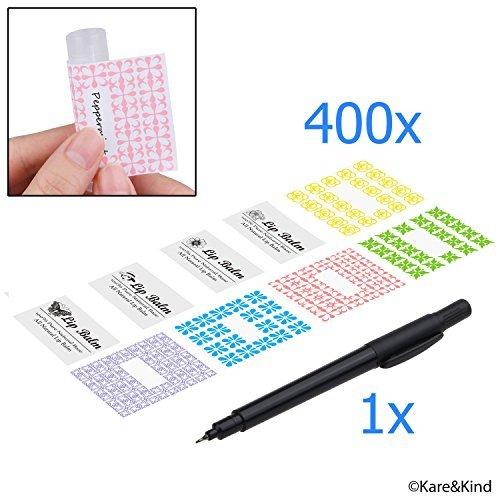 Lippenbalsam-kits (Etiketten für Lippenbalsam-Tuben / Vorteilspack mit 400 Aufklebern (oder zu anderen Zwecken) - 200 beschreibbare Aufkleber und 200 gedruckte Aufkleber - Selbstklebend und einfach abzulösen)