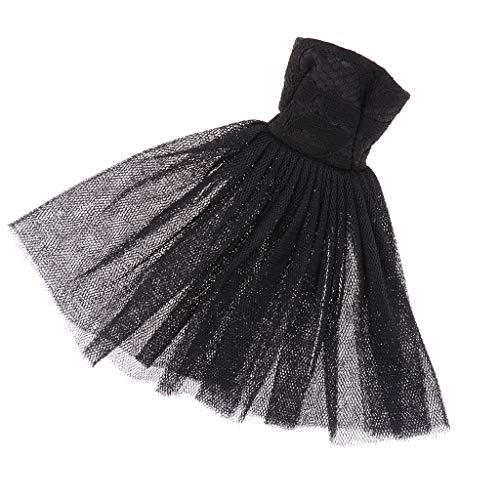 Elegante Schulterfre Puppenkleid Kleid Prinzessin Brautkleid Knielang Cocktailkleid für 1/6 weibliche Puppen Dress Up Zubehör - Schwarz -