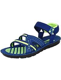 Earton Men's Black & Grey Sandals & Floaters