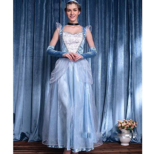 eidung Kostüm Erwachsene Kleid Prinzessin Rollenspiel Outfit Leg Avenue Tux Halloween Kostüm Blaue künstliche Seide Stoffe elegant einteiliges,XL ()