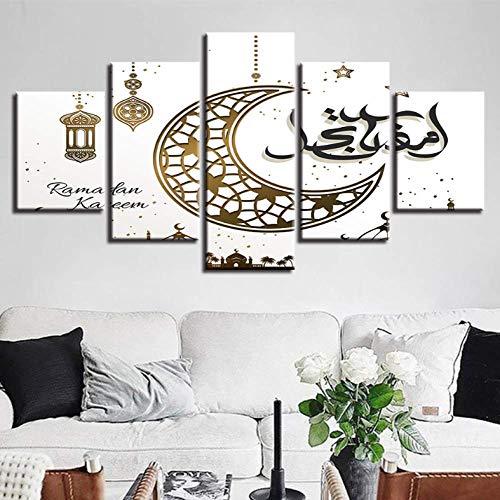 Leinwand HD-Drucke Modulare Poster Wohnkultur 5 Stücke Islam Die Bilder Muslim Leinwand Gemälde Wohnzimmer Wandkunst 200x100 cm