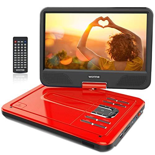 """WONNIE 12.5"""" Lecteur DVD Portable avec écran Rotatif de à 270°, Carte SD et Prise USB avec Charge directe Formats/RMVB / AVI / MP3 / JPEG, Parfait pour Enfants (Rouge)"""