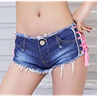 Frauen Niedrige Taille Cross Lace Up Jeans Shorts Sexy Solide Mini Denim Hot Pants Casual Zerrissene Loch Nachtclub Strand Kurze Hosen