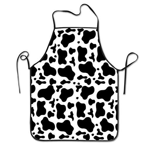 Milk Kostüm Black - HTETRERW Waitress Waist Apron - Stylish Multipurpose Aprons, Water Drop Resistant Cooking/Working/Gardening Apron for Home Restaurant Cafe Work, Black White Milk Cow Spots Print