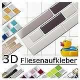4 pezzi Set 28,6 x 5,4 cm diverse tonalità di grigio adesivo per piastrelle Design 5 I Mosaico 3D Adesivo Sticker cucina bagno piastrelle Decor piastrelle autoadesivo Grandora W5288
