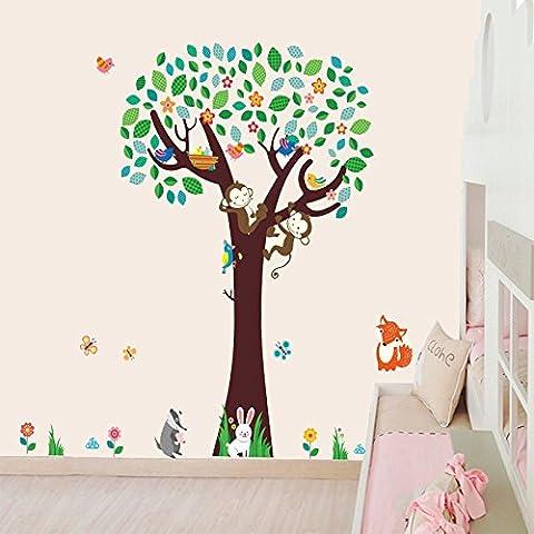 Docliick® Vinilos infantiles o decorativos de Arbol con conejito, zorro, monos flores y mariposas, para dormitorio de niño o niña, reutilizable, no deja
